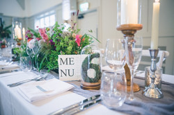 Moss table number cheesecloth runner