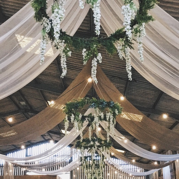 barn rustic wedding hessian draping