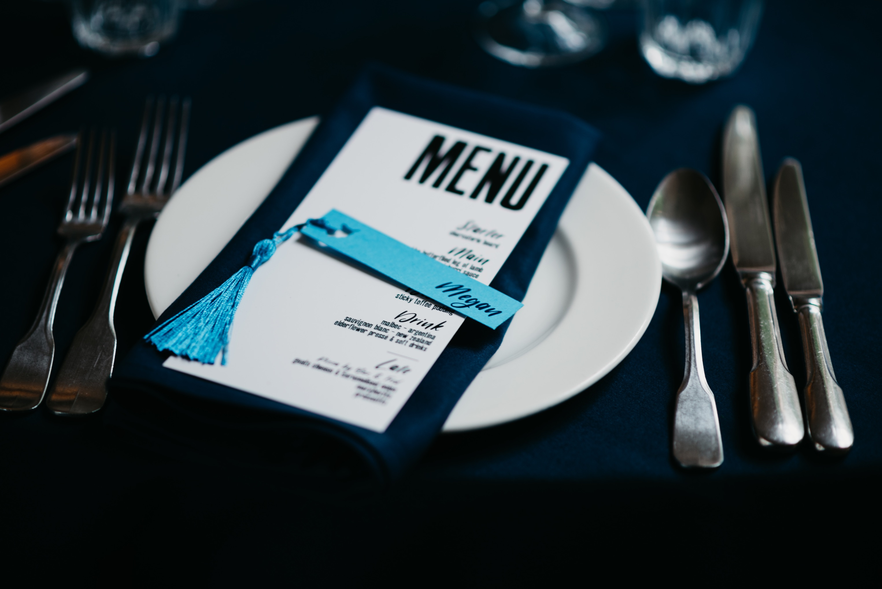 Navy blue linen place setting