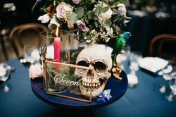 Skull centrepiece gay wedding