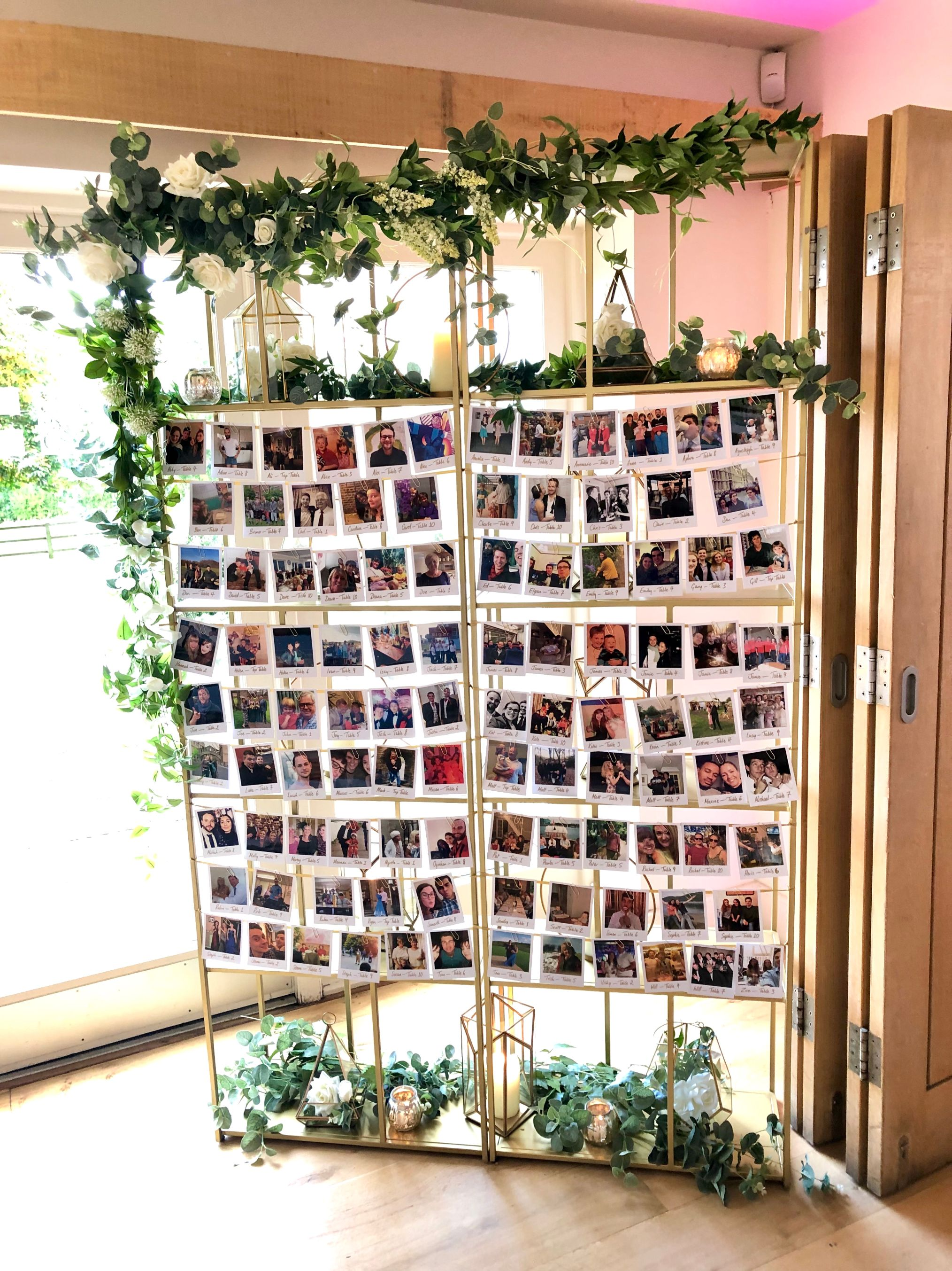 photo escort cards gold shelves