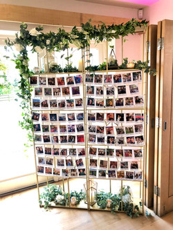 photo escort cards gold shelves