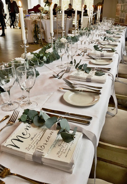 long table ribbon placecard menu