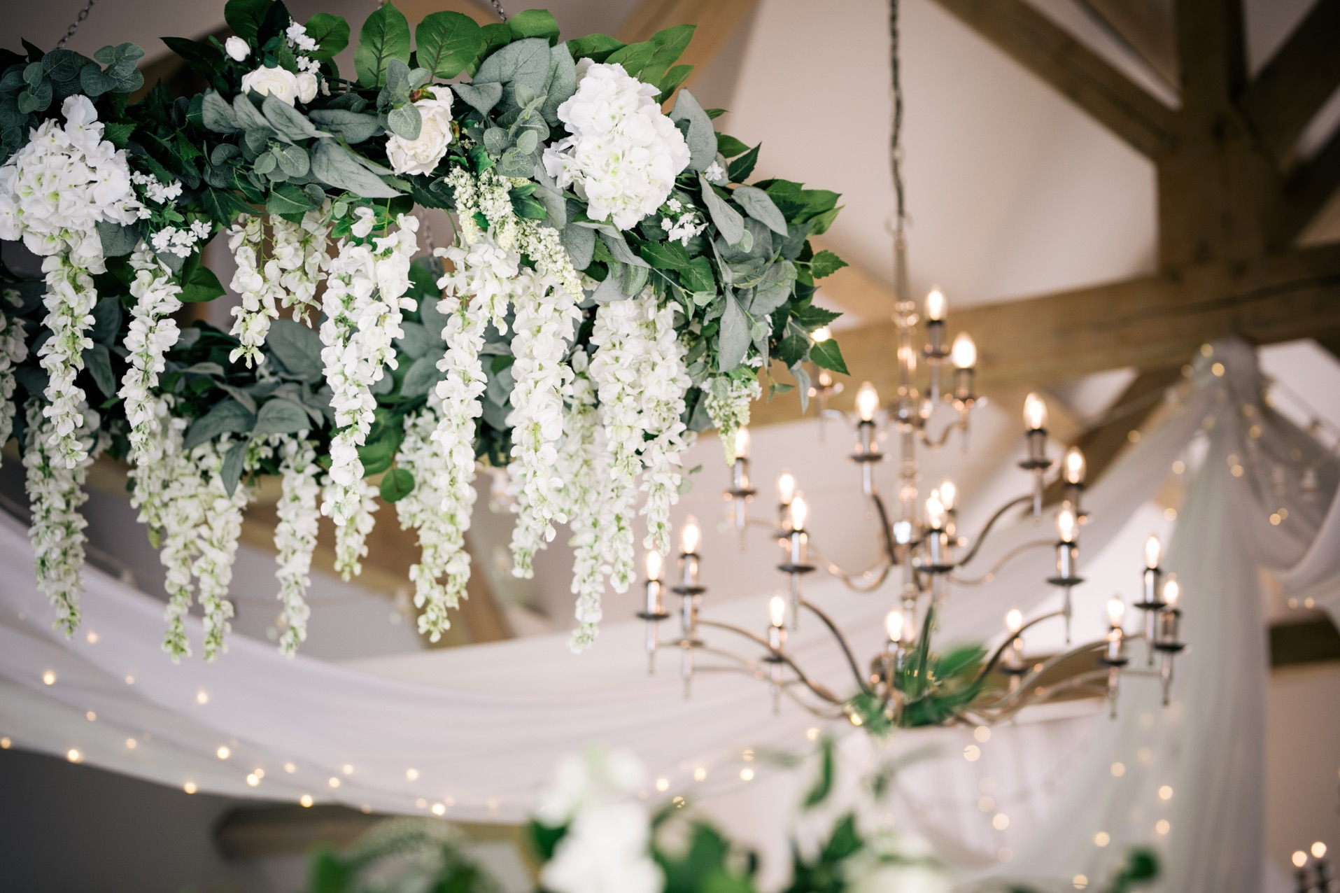 Faux Floral chandeliers wedding