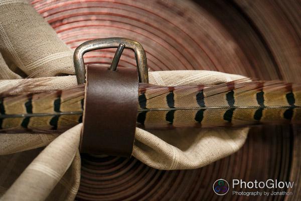 leather napkin ring pheasant feather