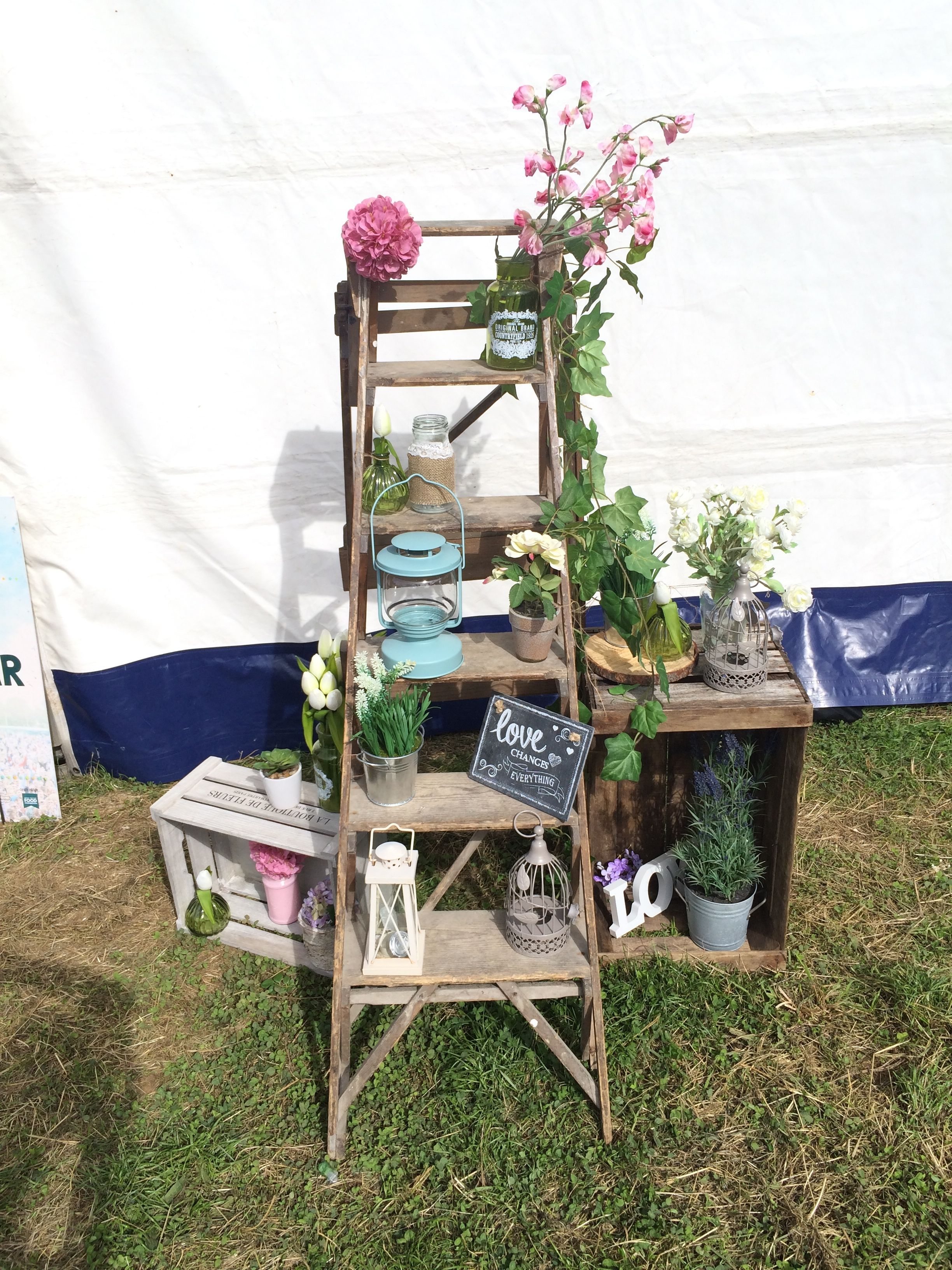 festival styling rustic ladder crate