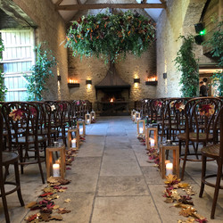Foliage chandelier stone barn autumn