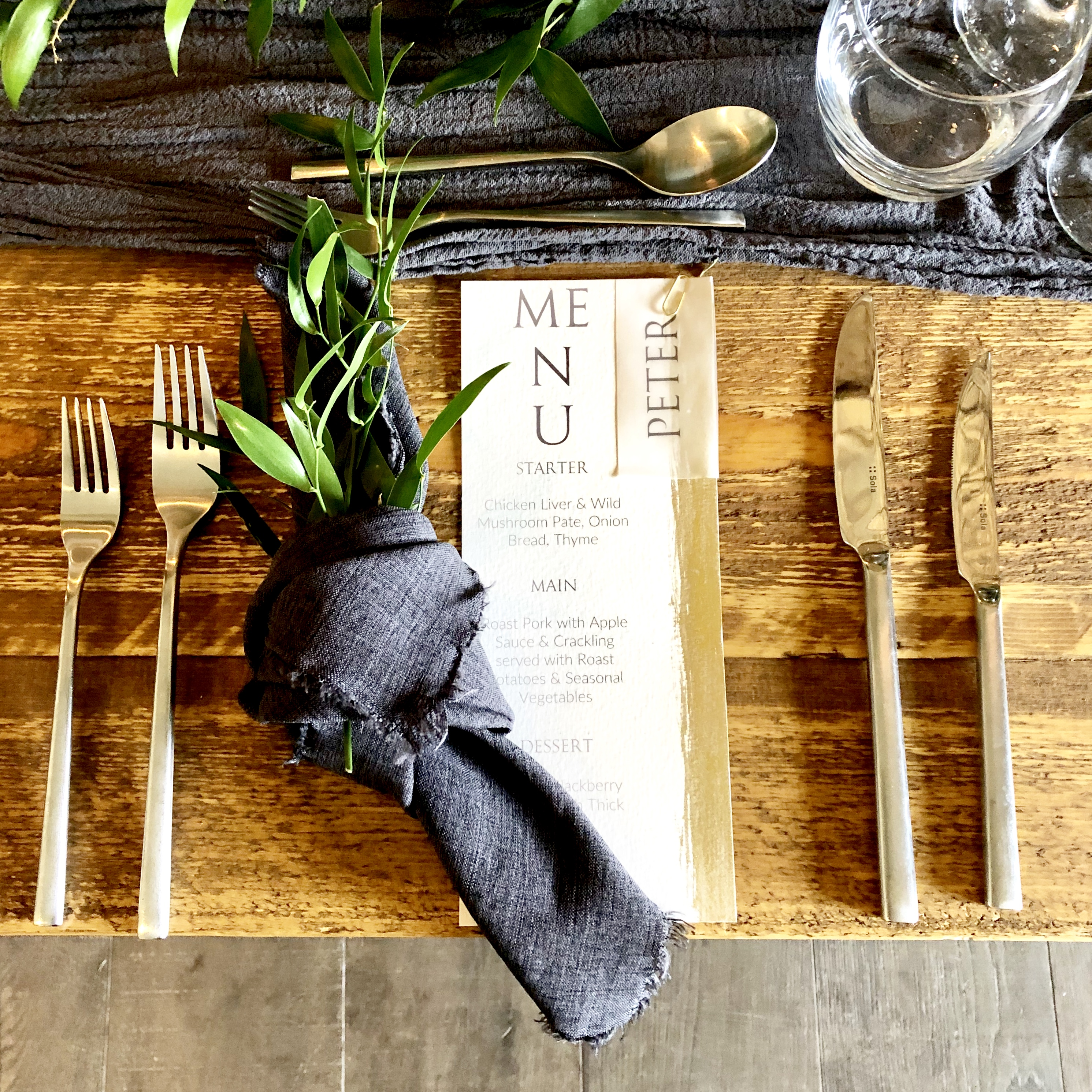 handmade wedding menu gold cutlery