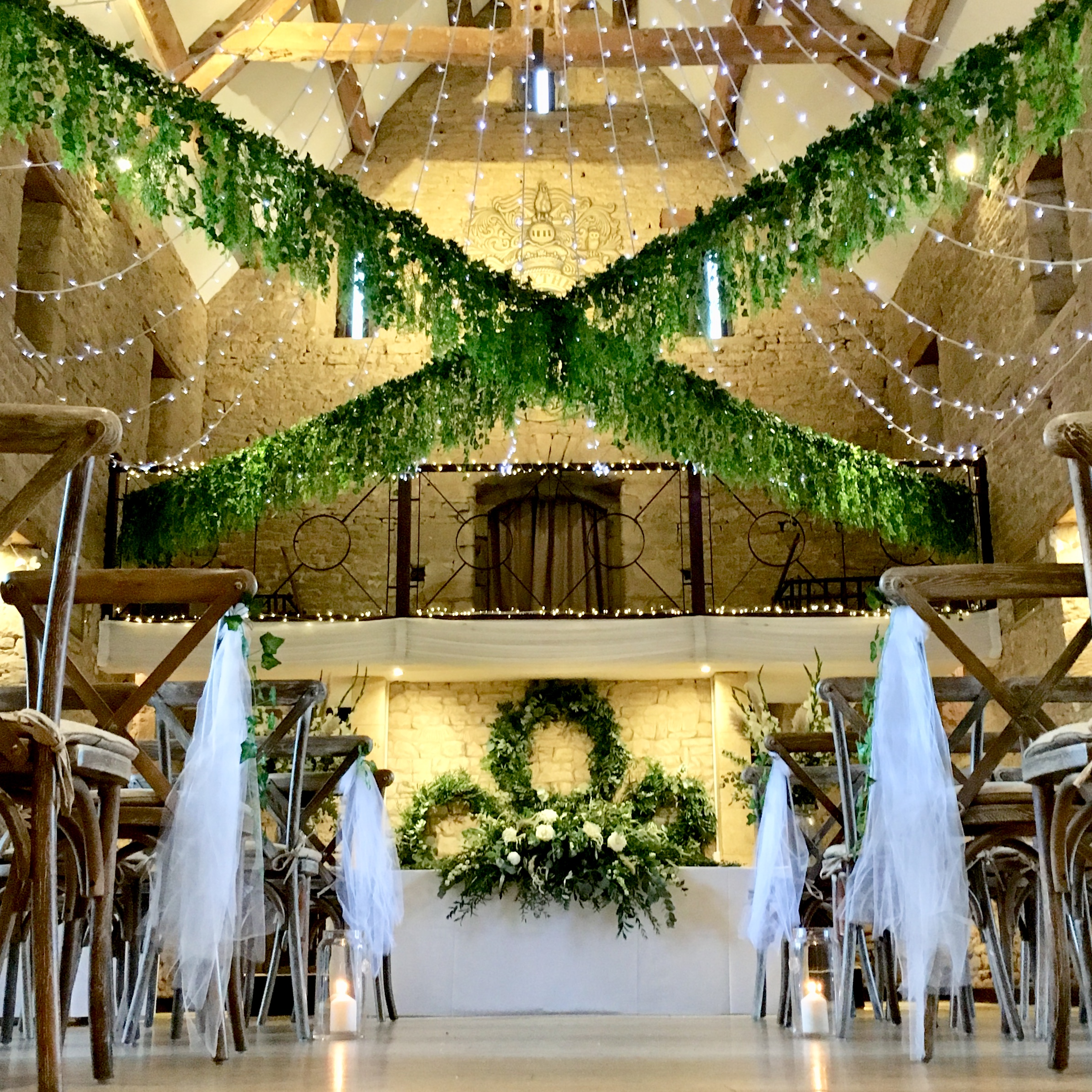 Great tythe barn wedding foliage