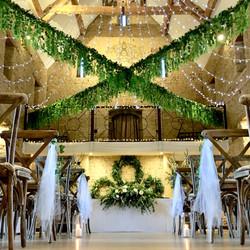 Great tythe barn wedding foliage