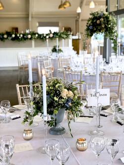 blue candles grey linen wedding