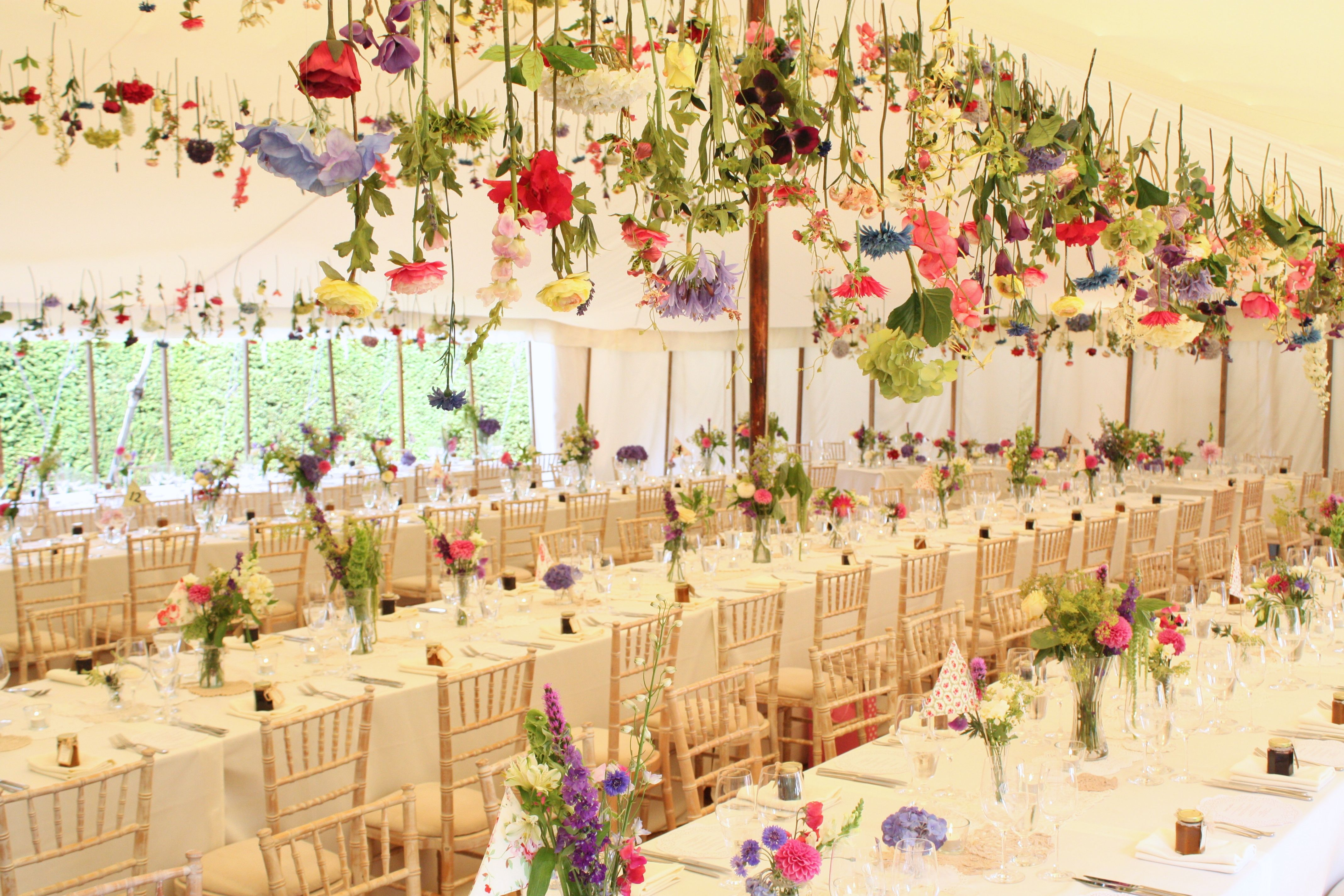 Hanging flower display marquee
