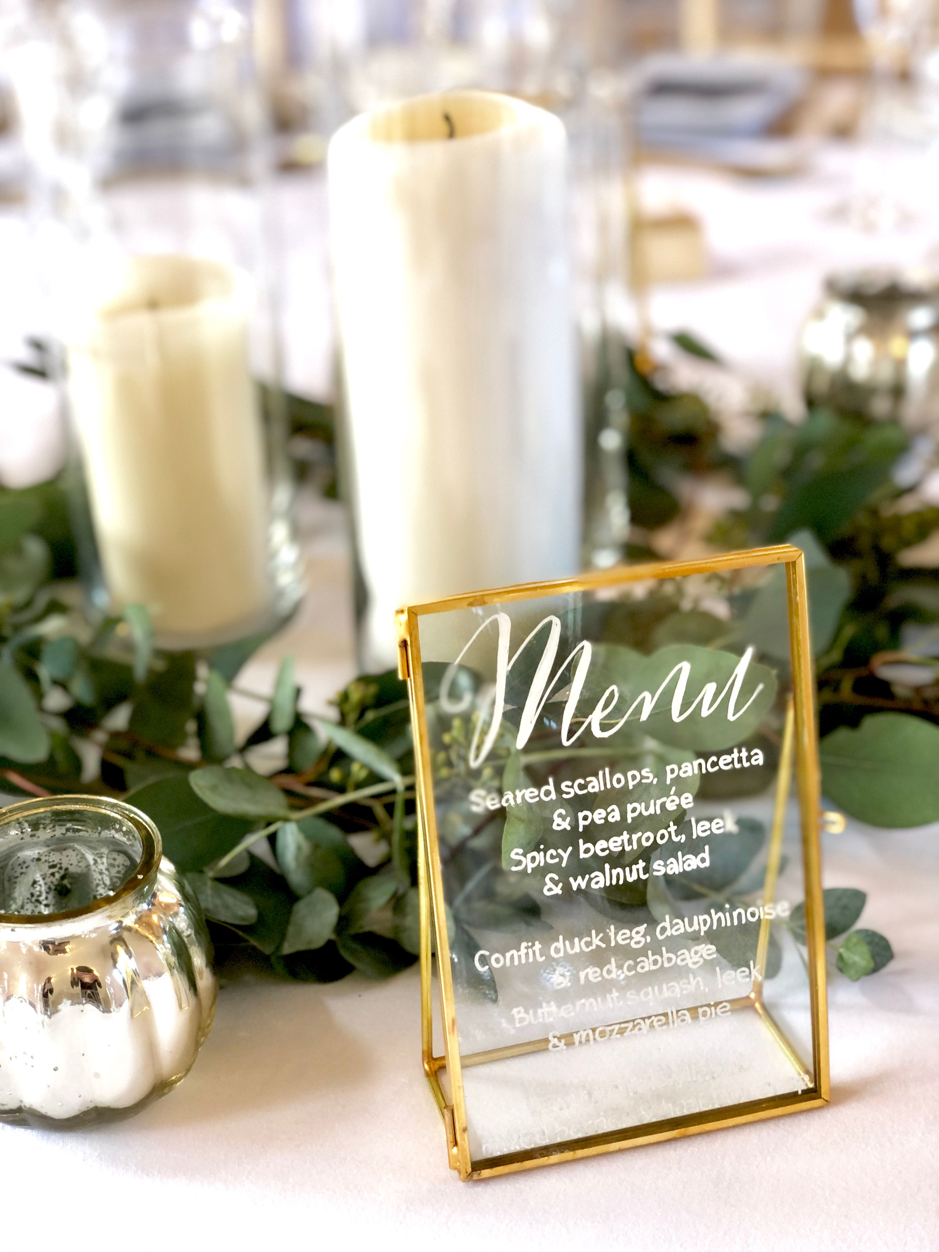 gold kiko frame wedding menu