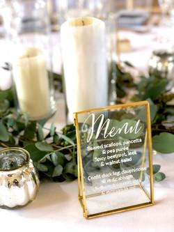 gold kiko frame wedding menu