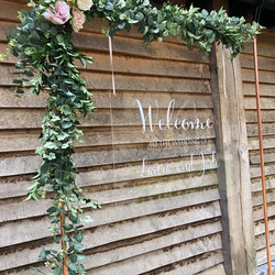 Acrylic welcome sign copper