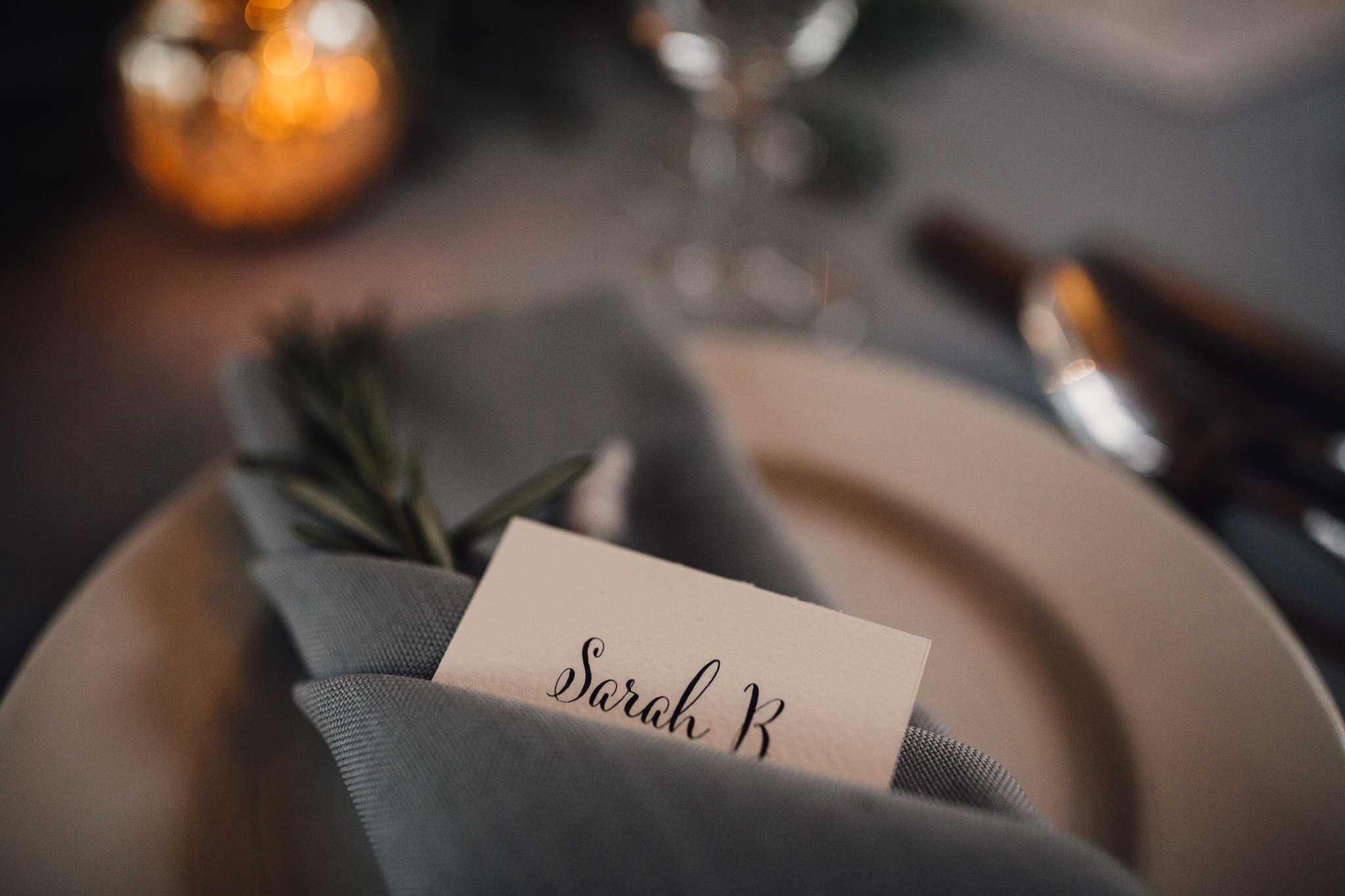 Grey napkin place card