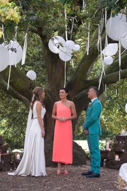 outside tree wedding ceremony