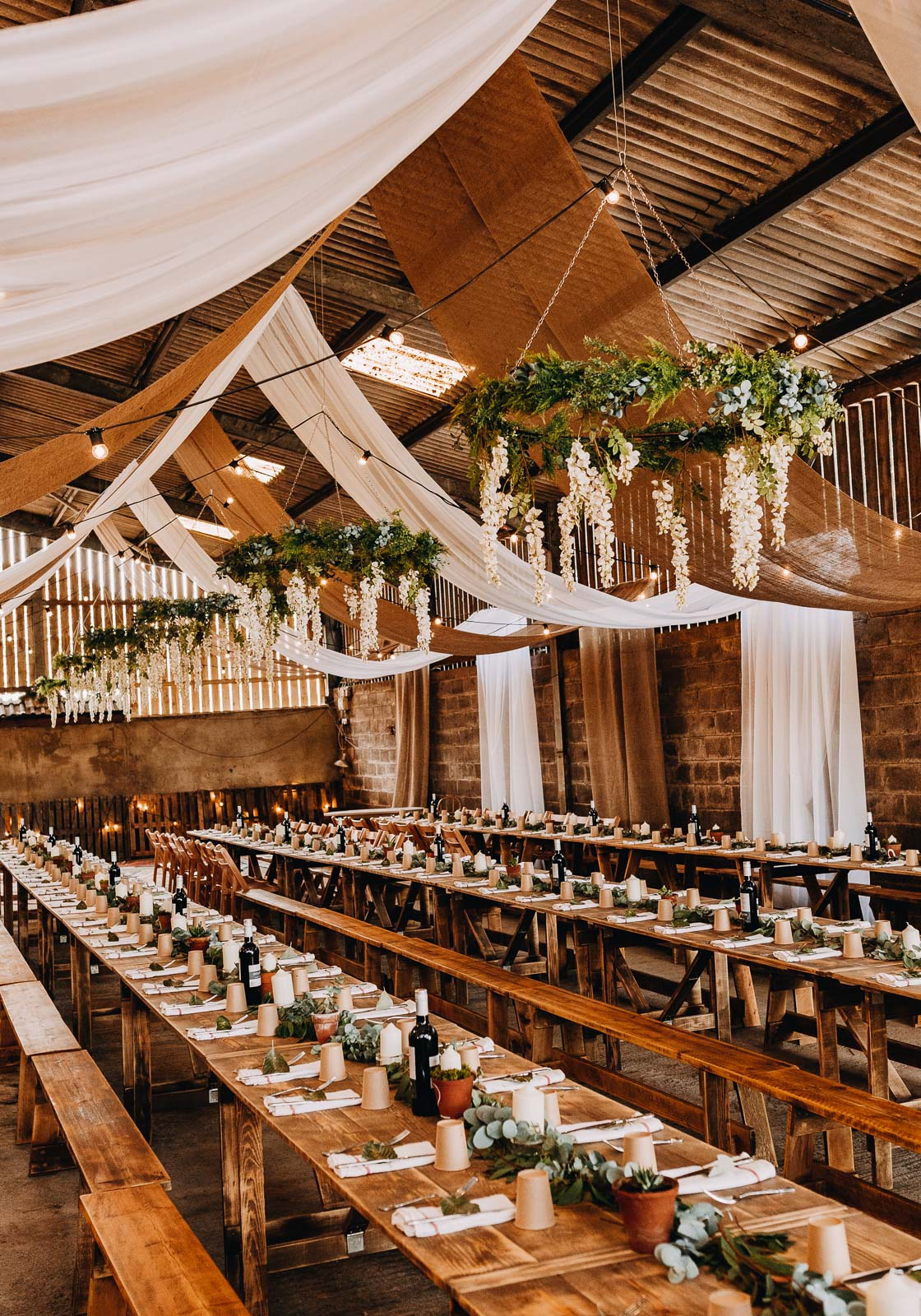 barn wedding wisteria floral chandel