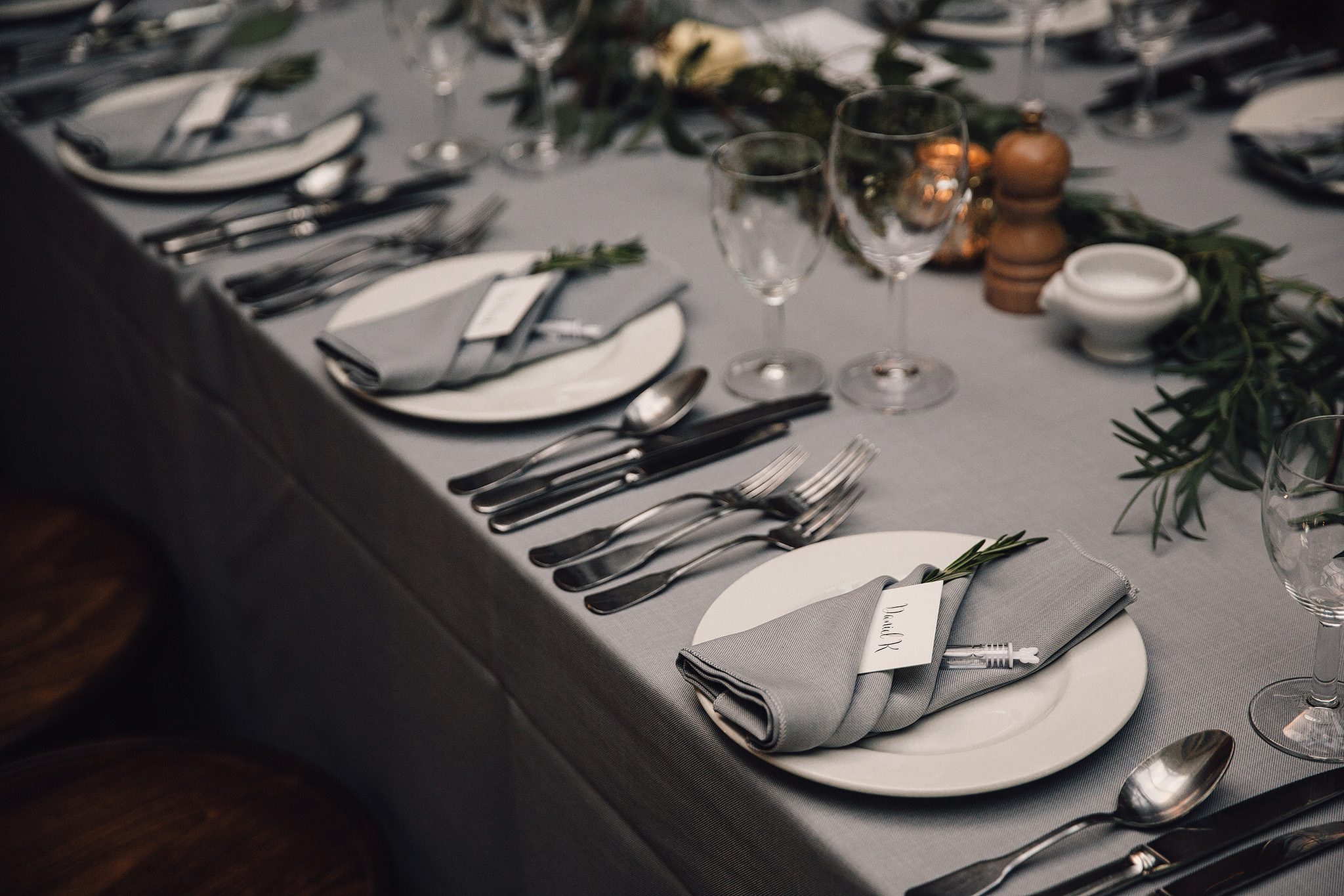 Grey linen wedding table