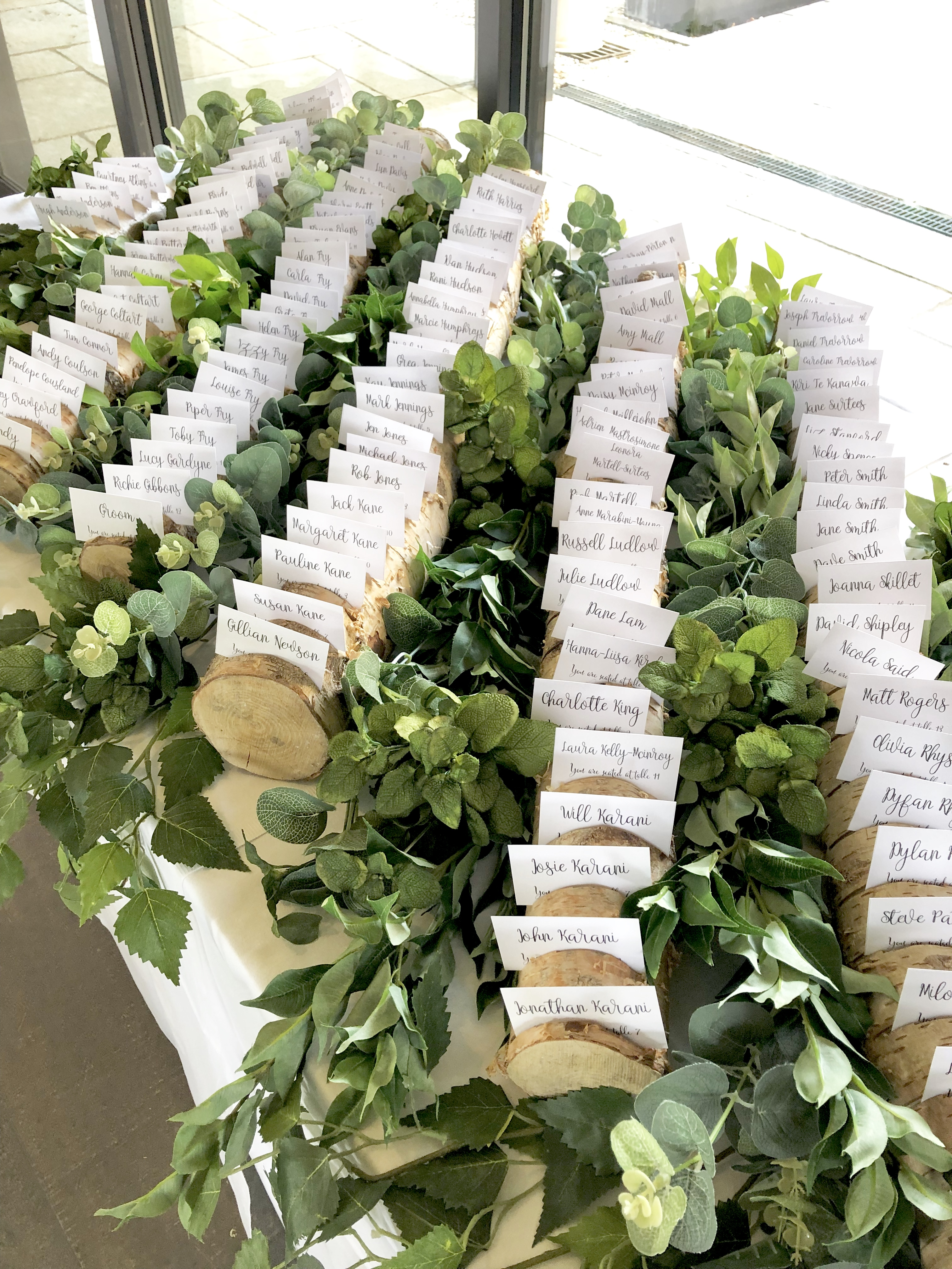 foliage and birch escort cards