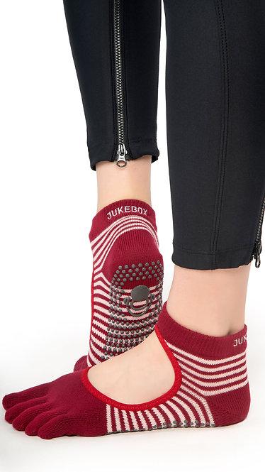 Full Toe Grip Motion Socks (Red - Open)