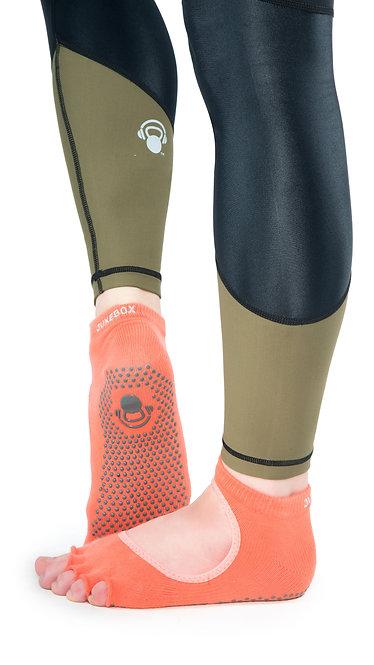 Half Toe Grip Motion Socks (Orange - Open)