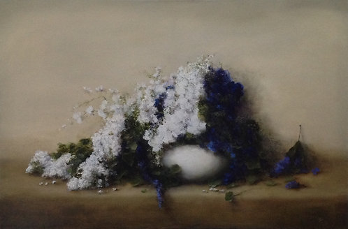 White Lilacs and Wild Flowers: 24 x 36 ins