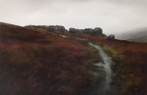 Cow and Calf Rocks, March, Rain: 20 x 30 ins
