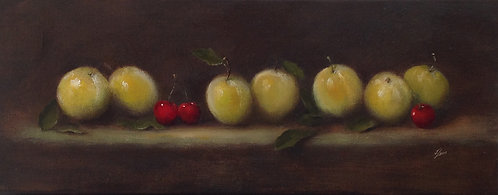 Greengages and Cherries: 8 x 20 ins