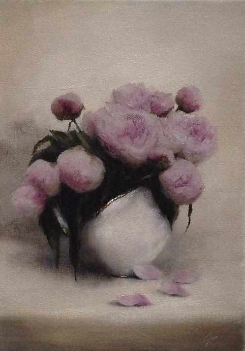 Pink Peonies, Small Study: 11.5 x 8 ins