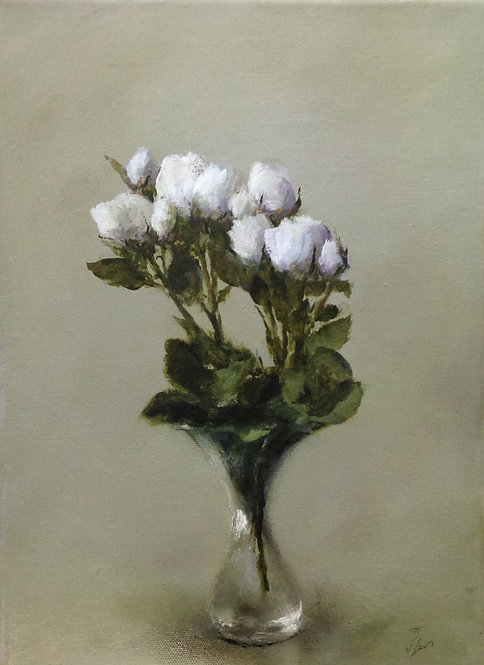 White Roses, Hourglass Vase: 14 x 10 ins