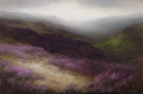 Hills of Heather: 20 x 30 ins