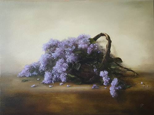 Basket of Lilacs: 18 x 24 ins