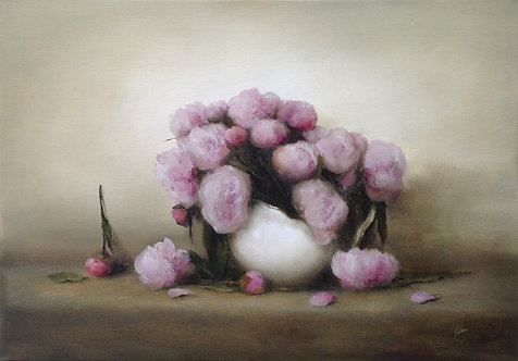 Study of Pink Peonies: 16.5 x 23.5 ins