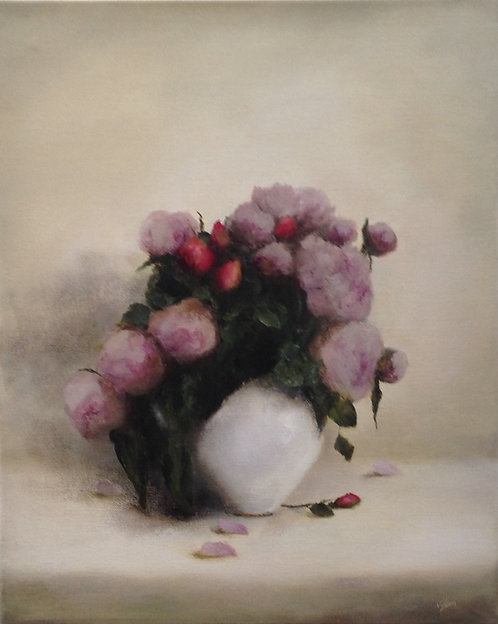 Peonies and Sunset Roses: 20 x 16 ins