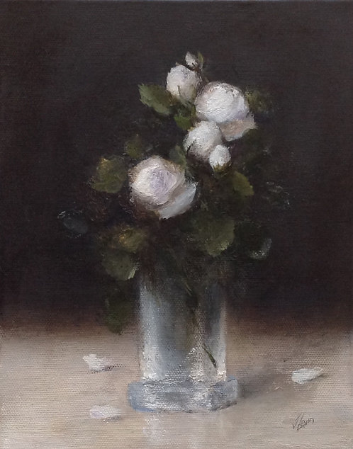 White Rose Spray in a Crystal Vase: 10 x 8 ins