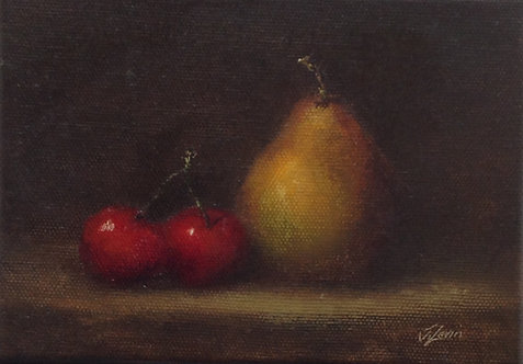 Pear and Cherries: 5 x 7 ins