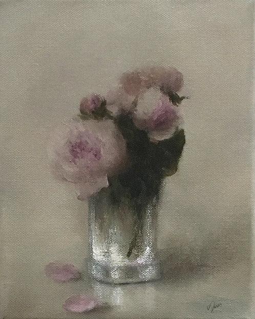 Peonies in a Crystal Vase: 10 x 8 ins