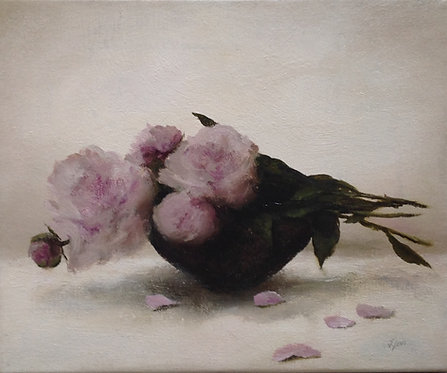 Pink Peonies, Small Basket: 10 x 12 ins