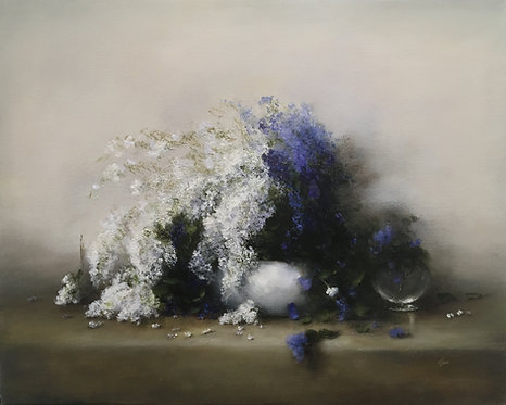 Wild Flowers in Blue and White - Sold