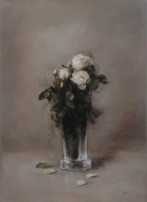 White Roses in a Crystal Vase: 22 x 16 ins