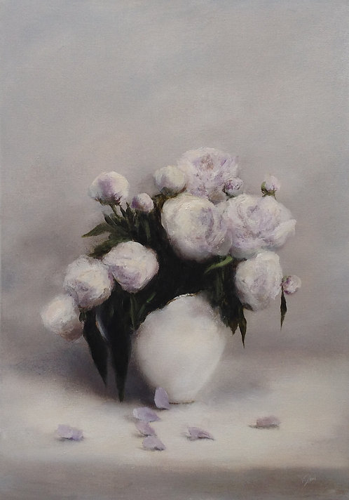 White Peonies: 23 x 16.5 ins