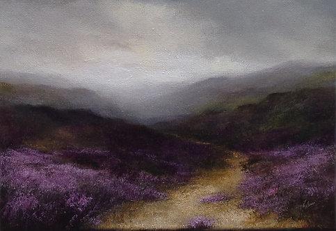 Heather Moorland Path: 8 x 12 ins