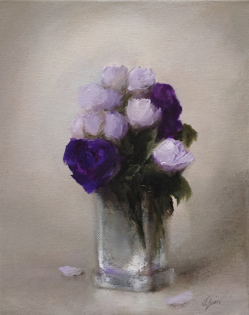 Lisianthus in a Crystal Vase ii: 10 x 8 ins