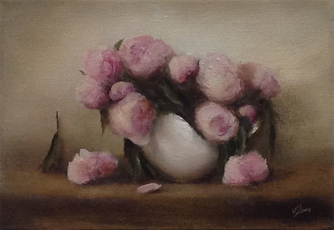White Jug with Pink Peonies: Sold
