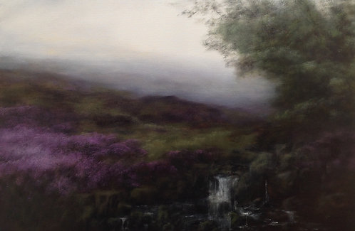 Brook with Heather & Leaning Tree: Sold