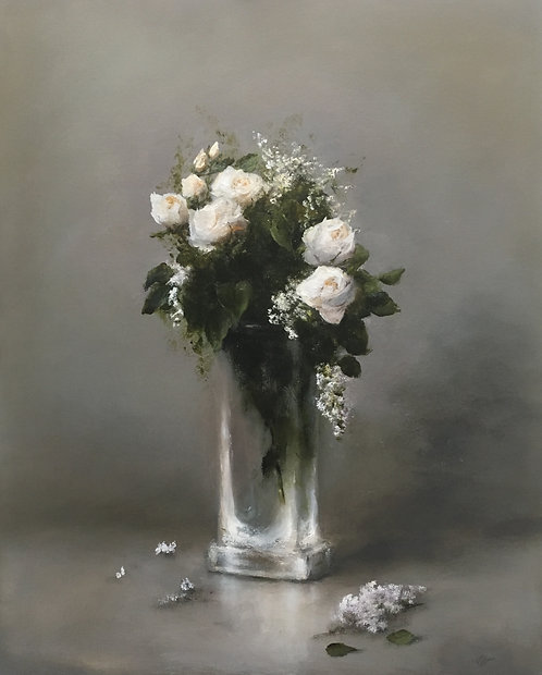White Roses with White Lilacs - Sold
