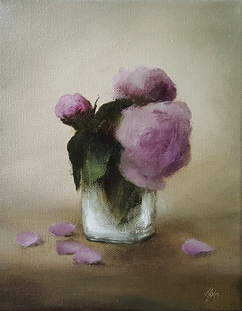 Peonies in a Glass: 10 x 8 ins