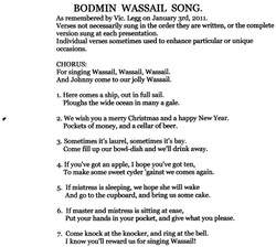 Words of the Bodmin Wassail