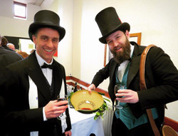 Neil and Luke with the wassail bowl